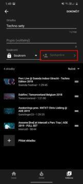 YouTube Music Spolupráce tlačítko
