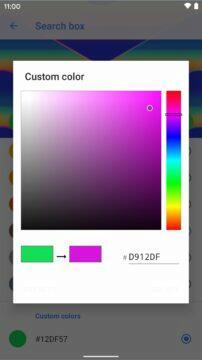 Action Launcher výběr barvy