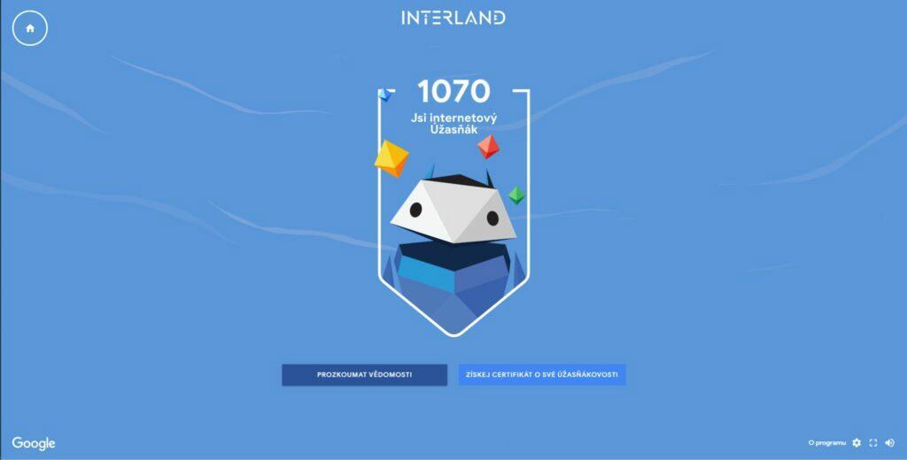 Google Interland odměna internetový Úžasňák