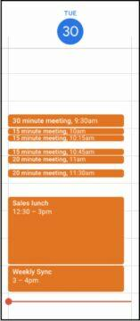 Google Kalendář krátké události náhled