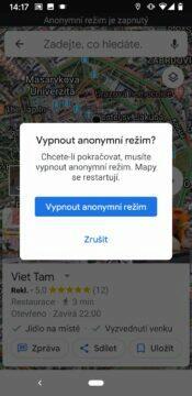 Google mapy anonymní rezim ukonceni