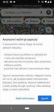 Google mapy anonymni rezim zapnuty