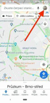 anonymní mód v Google Mapach domovska obrazovka