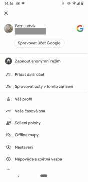 Google mapy nastavení