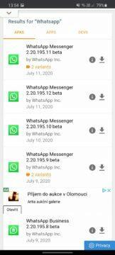 instalce starší verze aplikace APKMIrror výběr verze