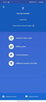 Live View Google Mapy určování polohy menu