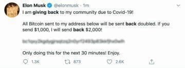podvodná zpráva na Twitter profilu Elona Muska