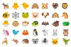 starý styl zvířecích emoji google