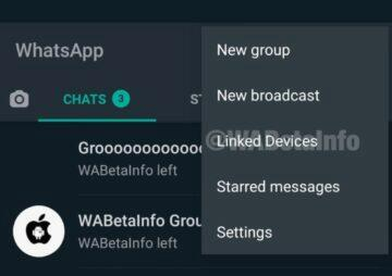whatsapp na více zařízeních menu připojená zařízení screenshot