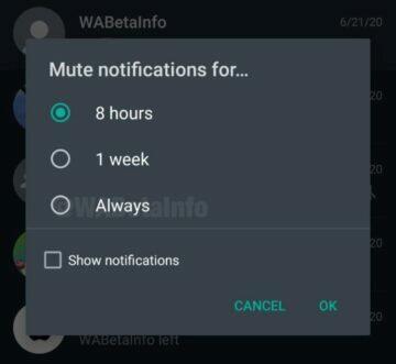 WhatsApp trvalé vypnutí notifikací