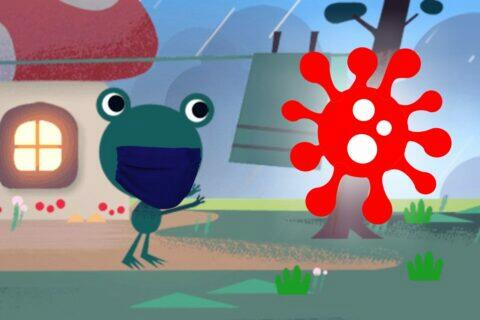 Google počasí žabák nosí roušku