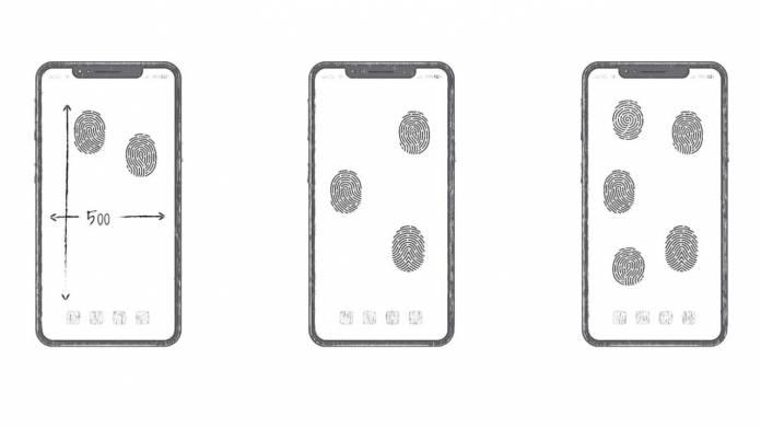 Huawei odemykání otiskem kdekoli na displeji patent