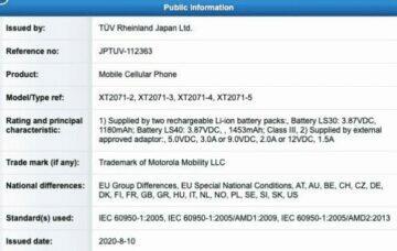 kapacita baterie motorola razr 2020