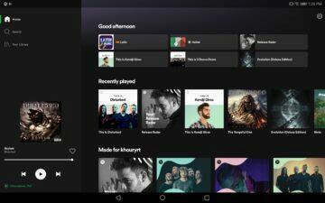 nová verze designu spotify tablety