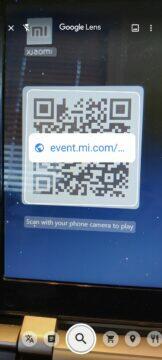virtuální deskovka Xiaomi QR kód na mobilní verzi webu