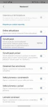 Xiaomi Mi Band 5 čeština Mi Fit vynutit jazyk