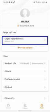 Xiaomi Mi Band 5 čeština nastavení náramku