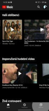 YouTube Music nedávná aktivita hlavní obrazovka