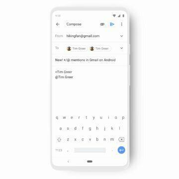 aplikace Gmail zmínky