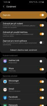 Galaxy Wearable nastavení notifikací