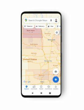 Google Mapy Covid-19 informace státy USA