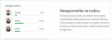Google pro rodiny předplatné One