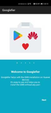 Googlefier uvítací obrazovka