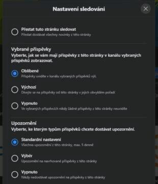 Jak sledovat Svět Androida Facebook Nastavení sledování