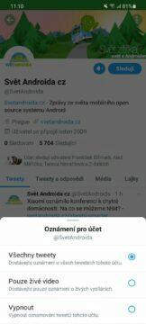 Jak sledovat Svět Androida Twitter možnosti upozornění