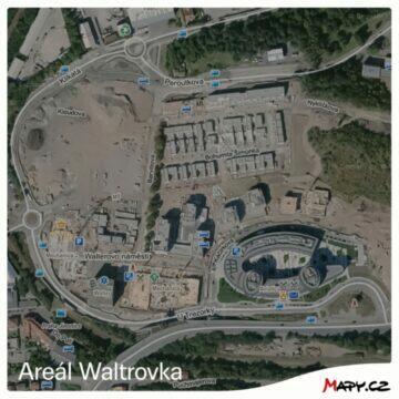 Mapy.cz nové letecké snímky z Čech areál Waltrovka starý snímek