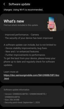 samsung galaxy s20 aktualizace fotoaparát