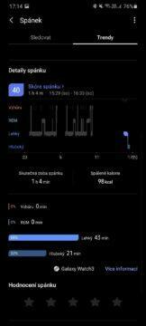 Samsung Health detaily spánku