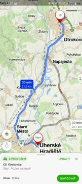 výběr alternativních tras Mapy.cz aplikace auto