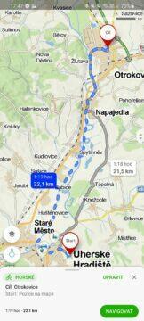 výběr alternativních tras Mapy.cz aplikace kolo