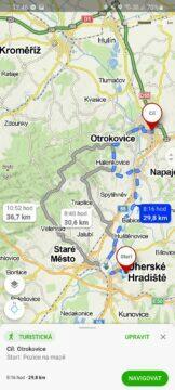 výběr alternativních tras Mapy.cz aplikace pěší