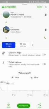výběr alternativních tras Mapy.cz možnost A