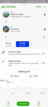 výběr alternativních tras Mapy.cz možnost B