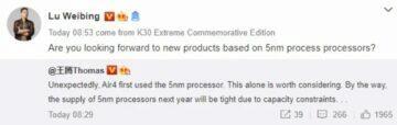 vývoj Redmi K40 Lu Weibing procesory