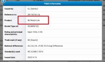 Xiaomi Mi Watch Lite certifikace screen