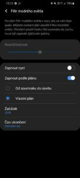 modré světlo mobil filtr nastavení