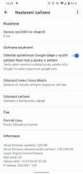 Google Home Hub nové rozhraní - firmware 229149