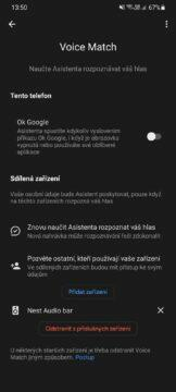 Google Home Voice Match nastavení