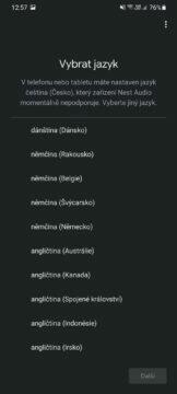 Google Home výběr jazyka
