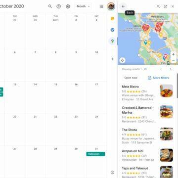 google kalendar mapa seznam mist
