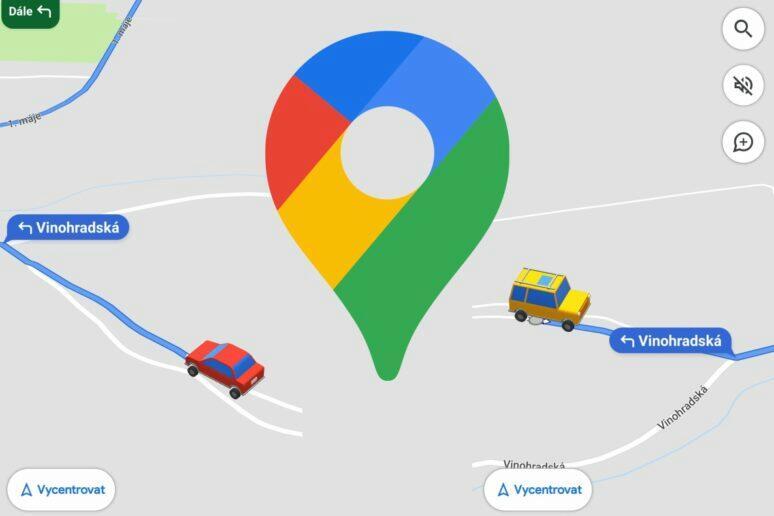 Google Mapy navigační ikony aut