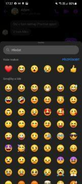 jak manuálně zapnout nové Messenger reakce app screen nabídka