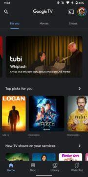 nová aplikace Google TV home domů
