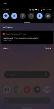 nová aplikace Google TV notifikace
