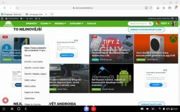 Samsung Galaxy Tab S7 DeX prohlížeč