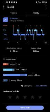 Samsung Health spánek detail